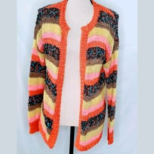 Mustard Seed Multicolor Cardigan, Chunky Knit, S